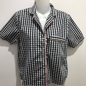 F21 Checkered B&W Blouse with Light pink trimming